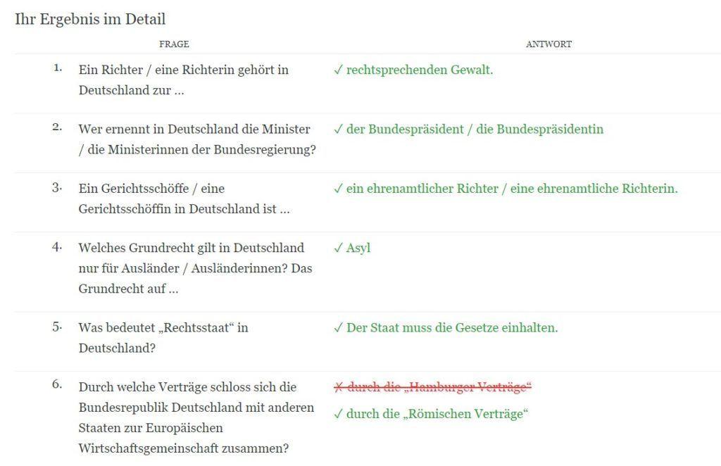 Leben in Deutschland Test Auswertung